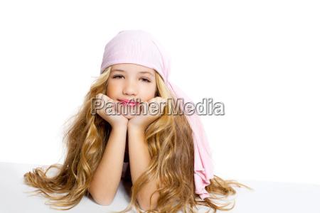 kid girl with pirate handkerchief beautiful