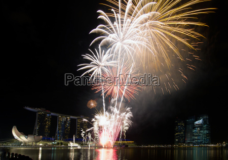 fireworks display along singapore esplanade