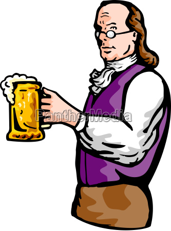 benjamin franklin gentleman holding mug of
