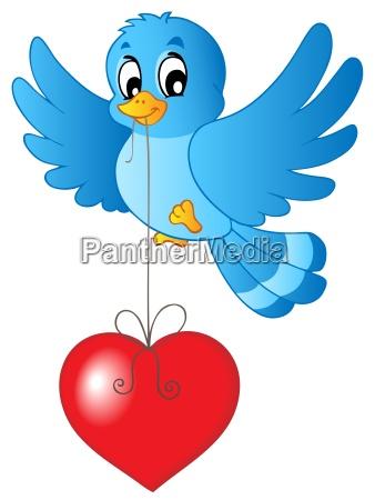 niebieski ptak z sercem na smyczkowy