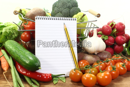 vegetable diet shopping basket purchase notebook