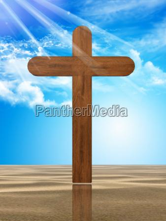 drewniany krzyz na pustyni