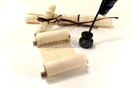 papyrus scrolls with quill and inkwell