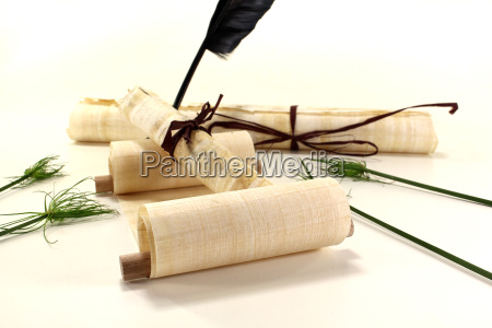 papyrus scrolls with quill and papyrus