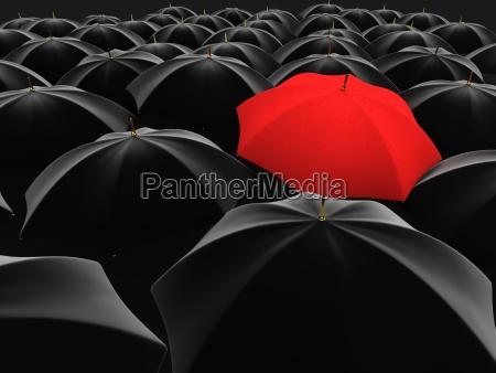 unikalny czerwonym parasolem