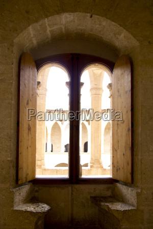 arch in majorca bellver castle at
