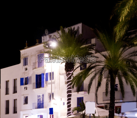 ibiza white houses in night with