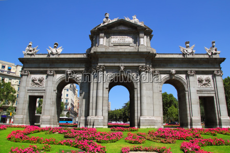 madrid puerta de alcala with flower