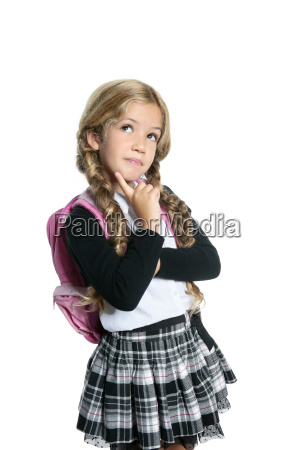 little blond school girl with backpack