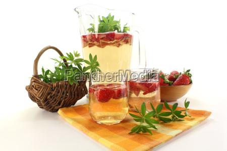 fresh may wine with strawberries