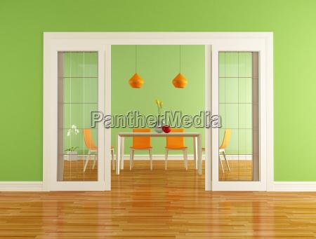 jadalnia zielona i pomaranczowa