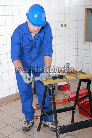 niebieski miejsce pracy rzemieslnik zaklad pracy