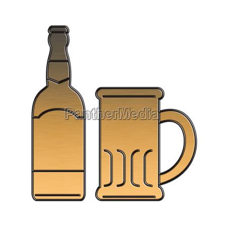 golden beer bottle mug isolated metallic