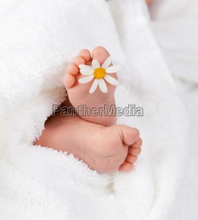 urocza stopa niemowlecia z mala biala
