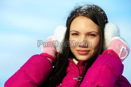 female in winterwear