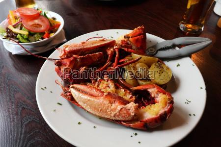 talerz homar owoce morza delikatesse salatka