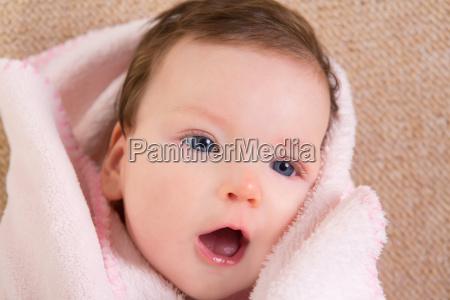 baby little girl face portrait open