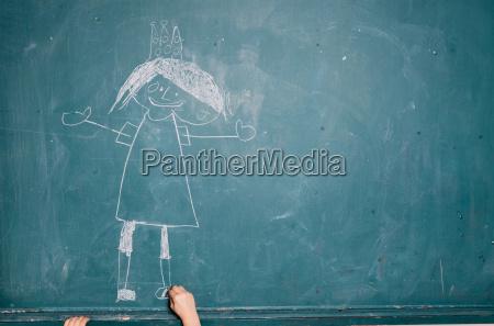 dziecko rysunek obraz na tablicy
