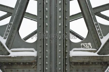 steel girders on a metal truss