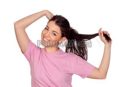 pretty young girl touching her hair