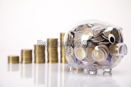 bank swini i moneta pieniezna