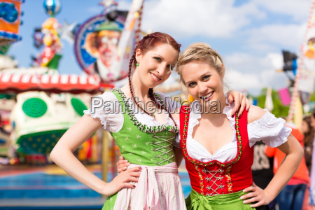 young women in traditional dirndl at