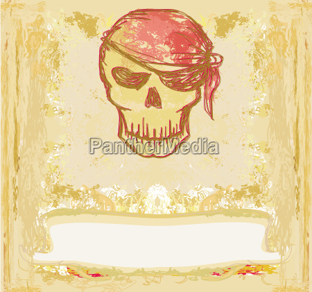 skull pirate karta retro