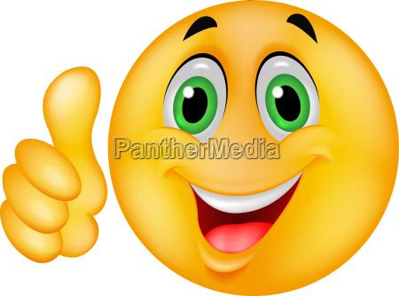 smiley emotikon kreskowka z kciukiem do