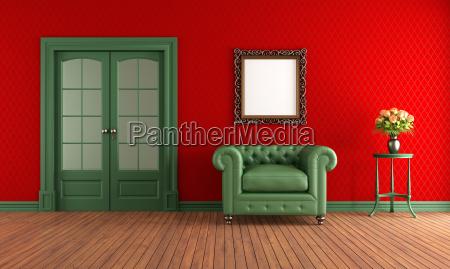 czerwony i zielony pokoj vintage z