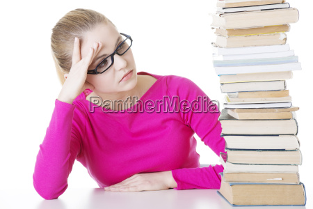 stack student girl learning