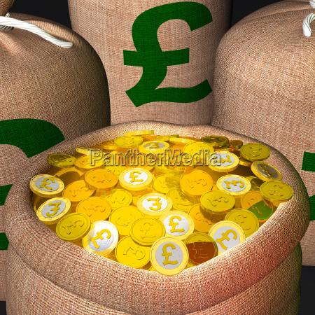 worek monet pokazujac brytyjski dobrobyt