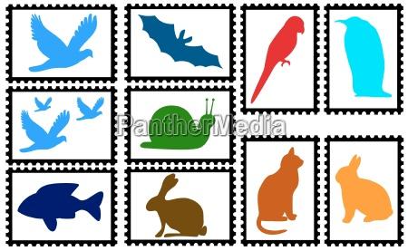 marki z kolorowymi sylwetkami zwierzat