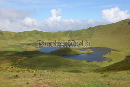 wulkan na wyspie corvo azores portugalia