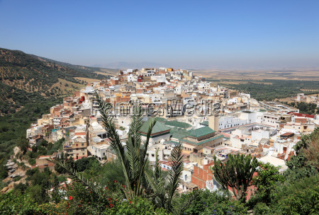 view over the town moulay idriss