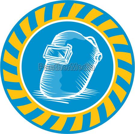 grafika przemyslowo ilustracja kask przylbica retro