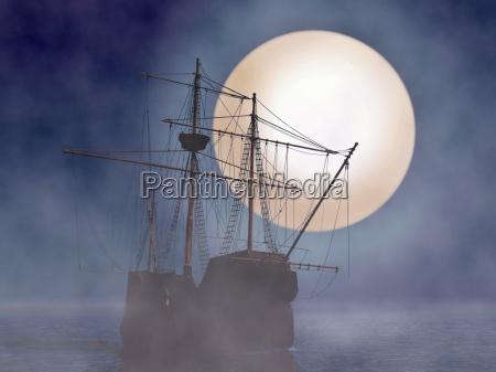 statek piracki z ksiezyca i mgla