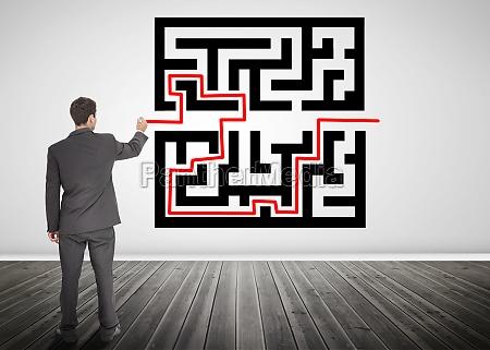 biznesmen rysunek czerwona linie poprzez kod