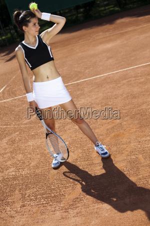 , dziewczyna, gra, w, tenisa, - 10036862