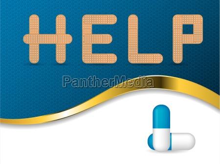 niebieskie tlo medyczne z tekstem pomocy