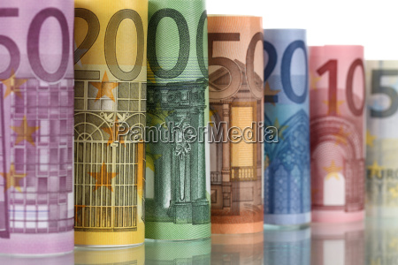 euro notes with reflection