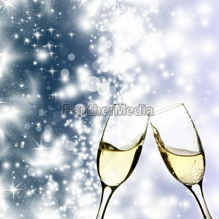 szampan, i, światła, świąteczne - 10468523