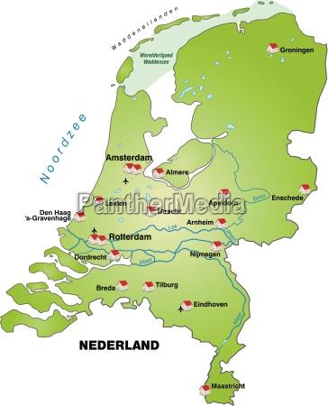 mapa holandii jako infografika na zielono