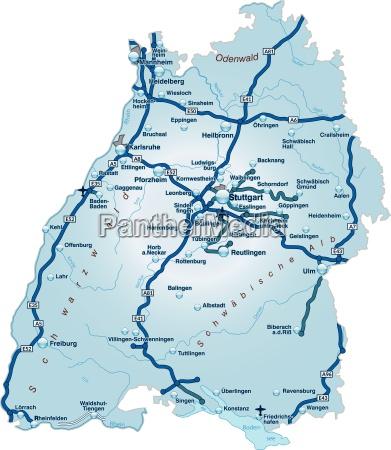 mapa badenii wirtembergii z siecia transportowa