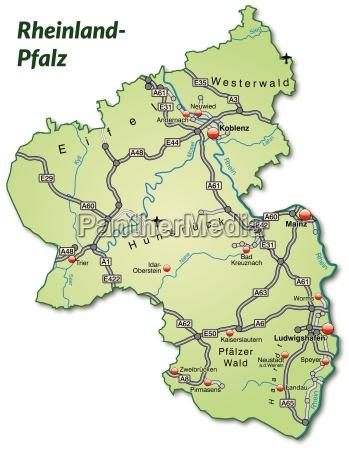 mapa nadrenia palatynat z siecia transportowa