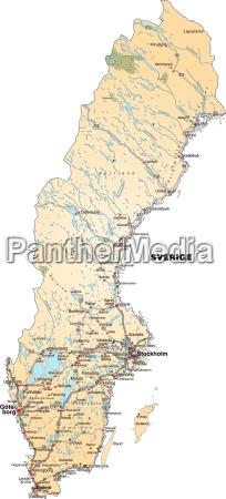 mapa szwecji z siecia transportowa w