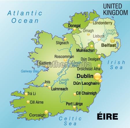 mapa irlandii jako mapa na zielono