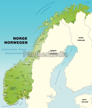 mapa norwegii jako mapa pogladem na