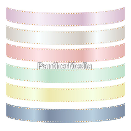 set of six pastel satin ribbons