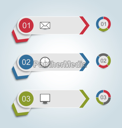 zestaw etykiety papierowe z ikon infographic