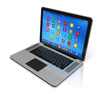 laptop komputer interfejs ikony aplikacji